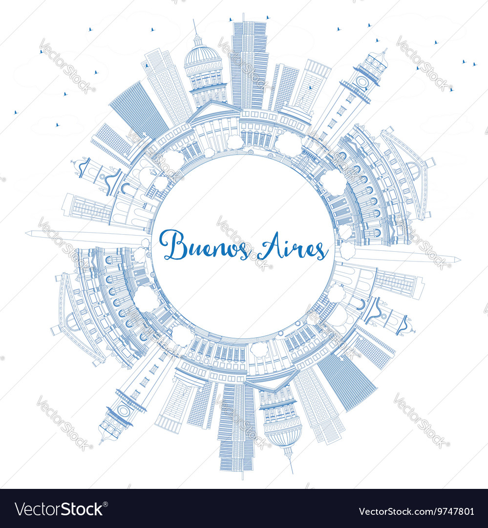 Outline Buenos Aires Skyline with Blue Landmarks vector image