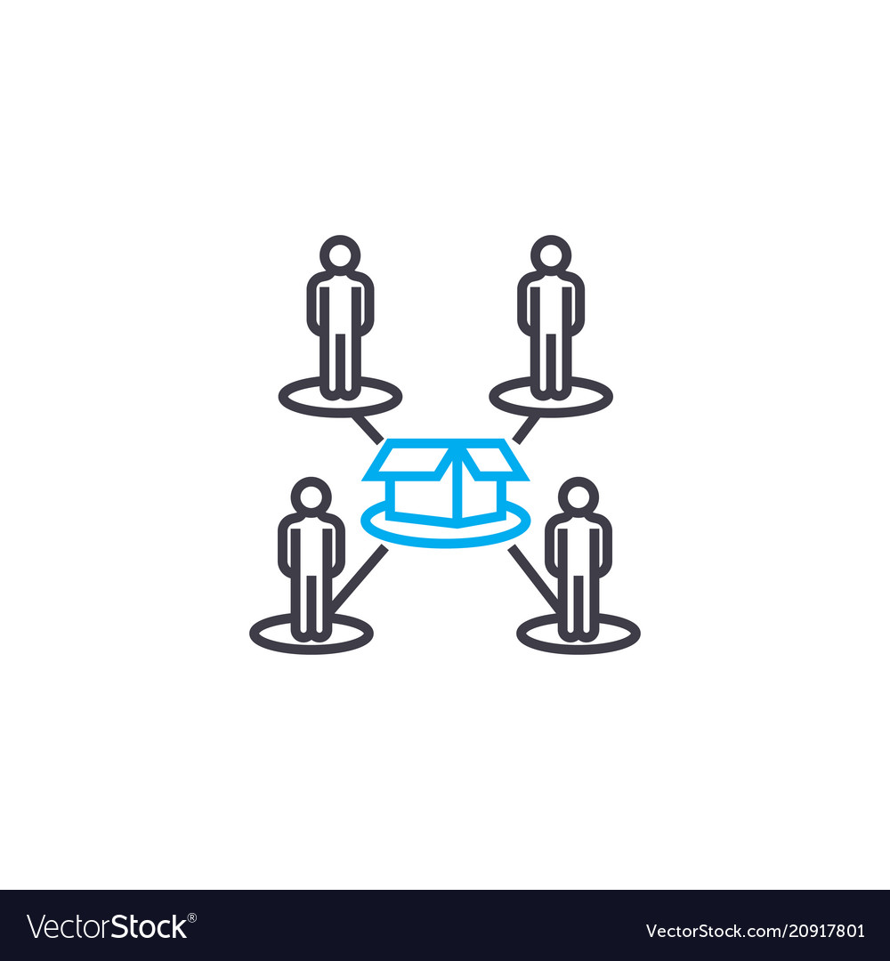 Production line workers linear icon concept