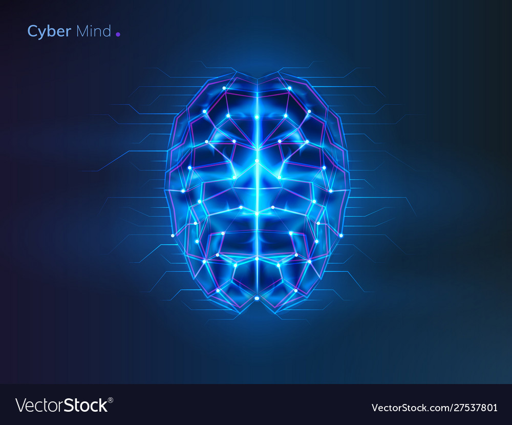 Robot or cyber brain human mind with circuit