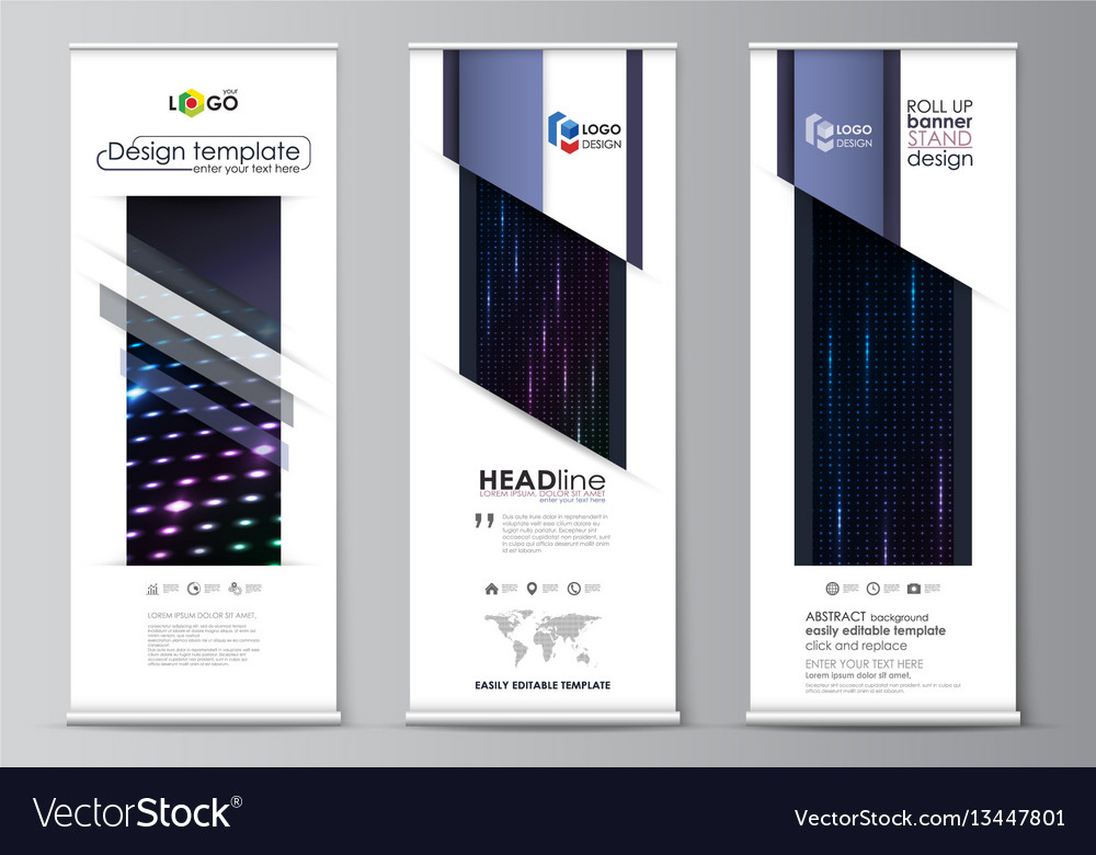 Roll up banner stands flat style templates Vector Image