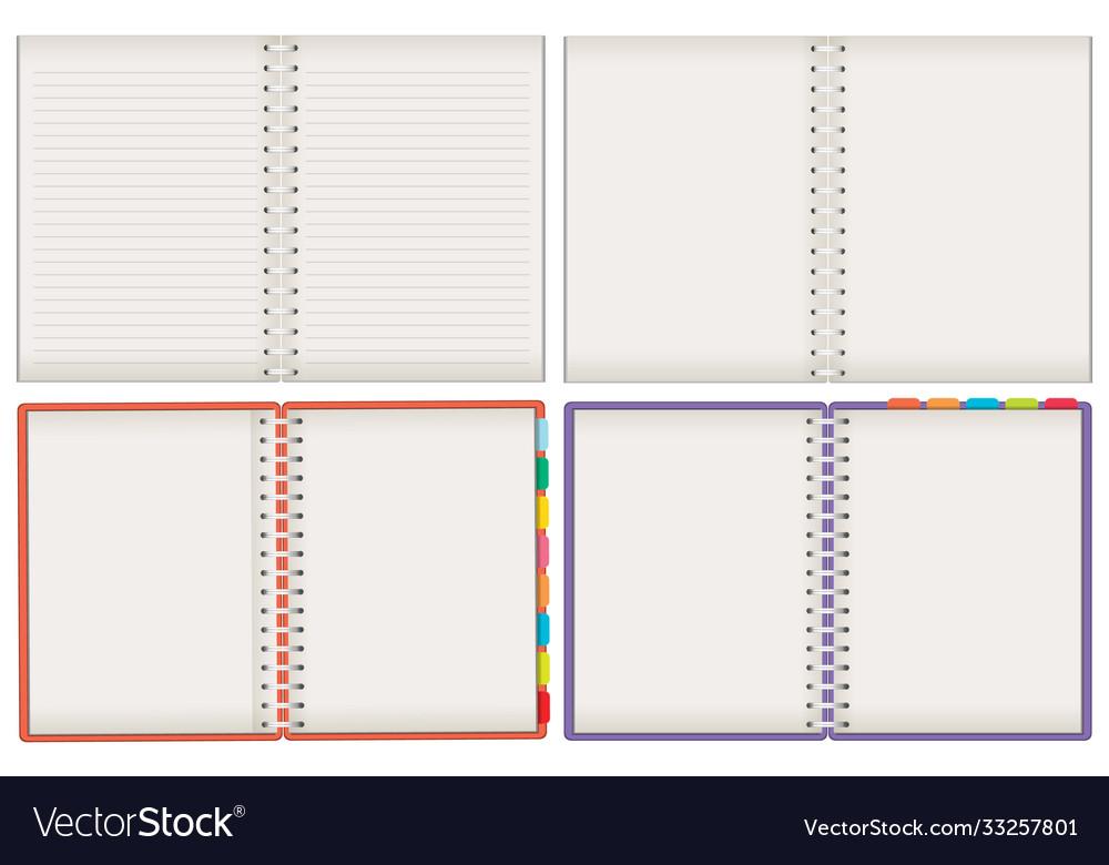 Set blank notebooks isolated on white