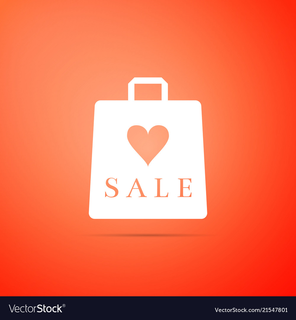 Shopping bag shop love like heart symbol with sale