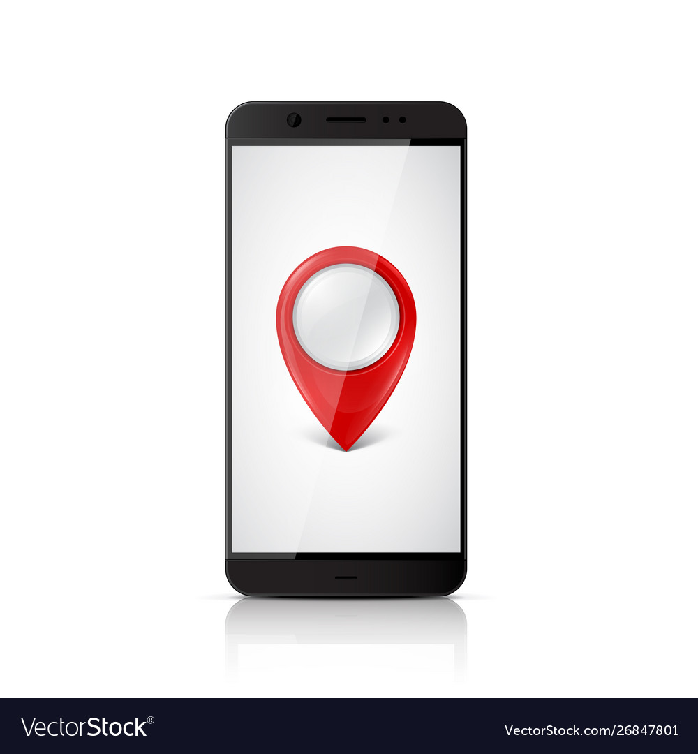 Smartphone with map pointer on screen