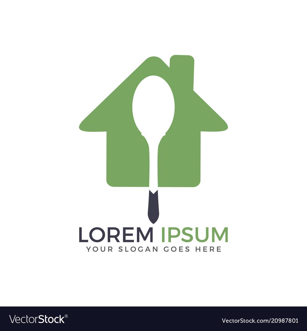 Spoon and home restaurant logo design