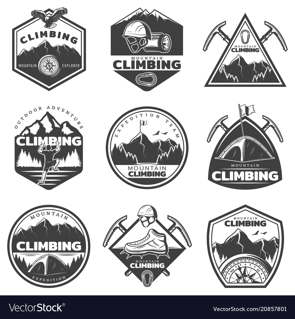Vintage monochrome mountain climbing labels set