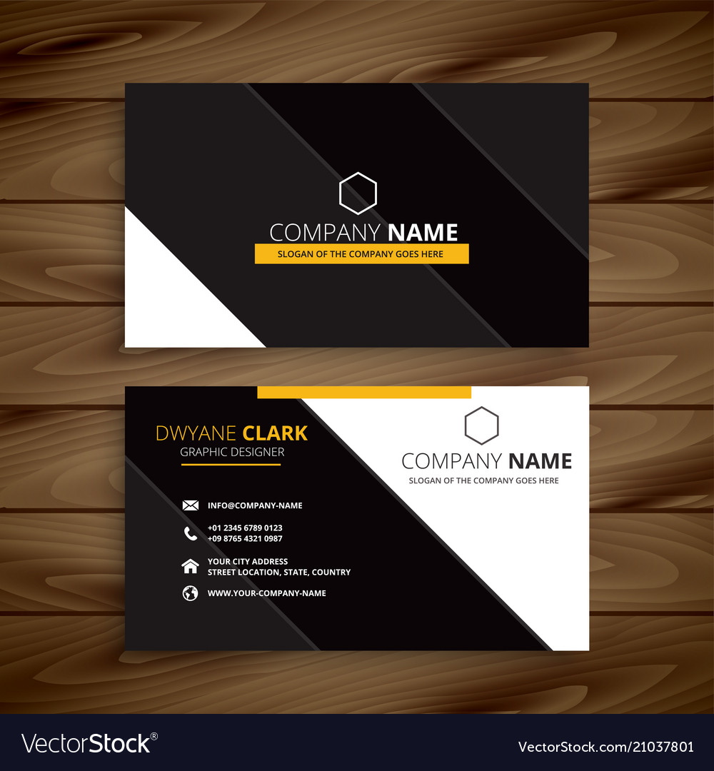 Yellow dark modern business card design Royalty Free Vector