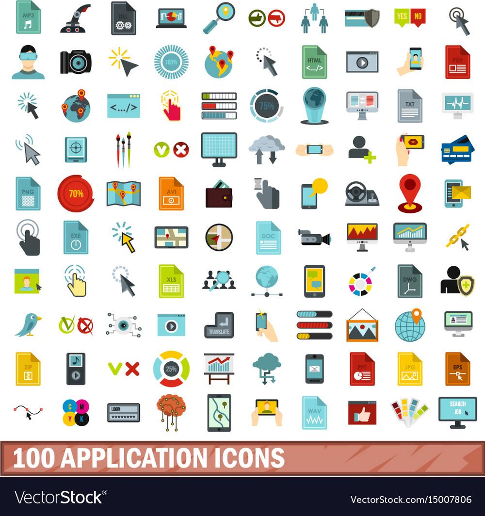100 application icons set flat style