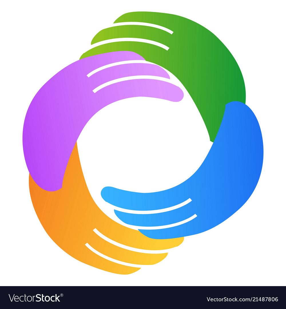 Abstract hand around circle