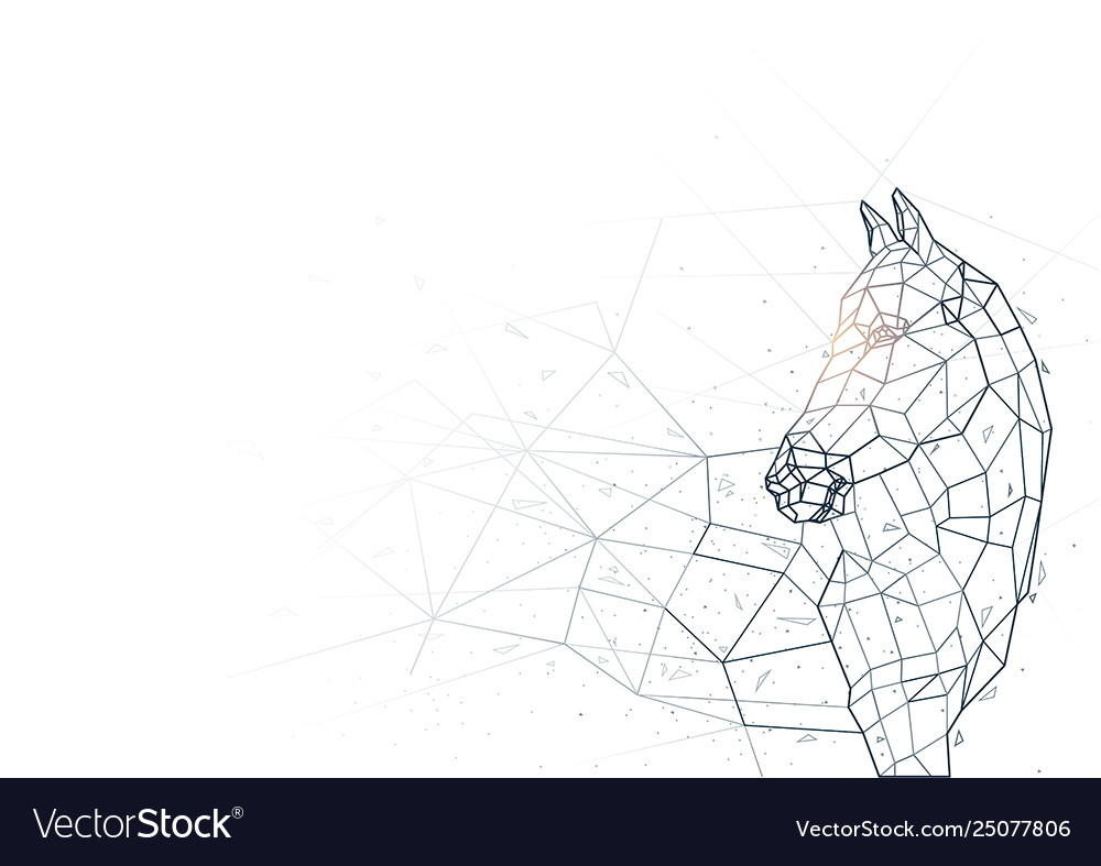 Abstract horse low poly wireframe