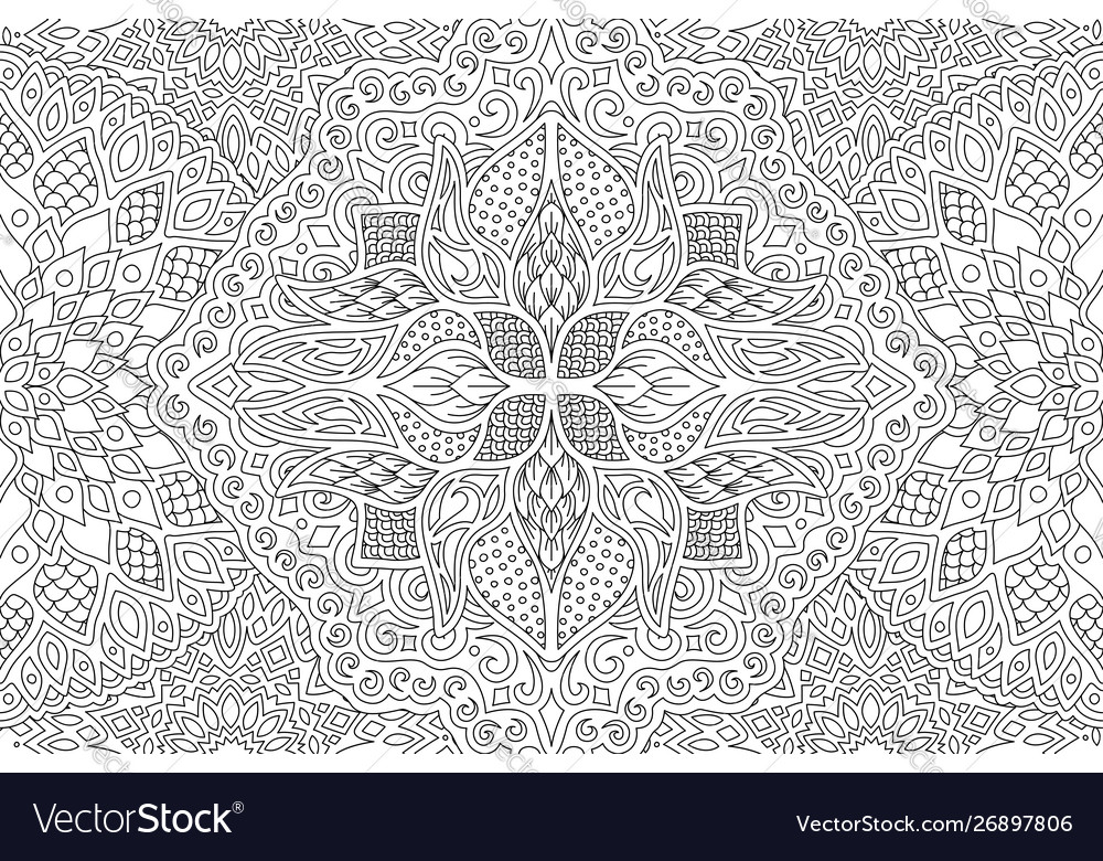 adult coloring book page with linear pattern vector