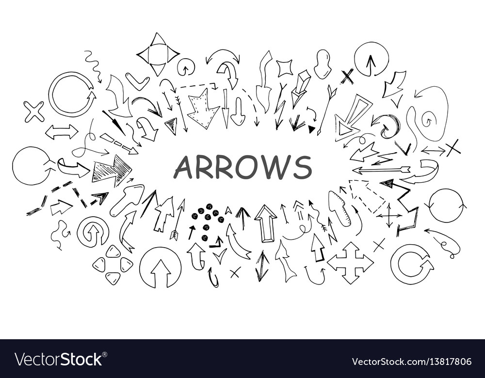 Arrows collection in doodle style hand drawn vector image