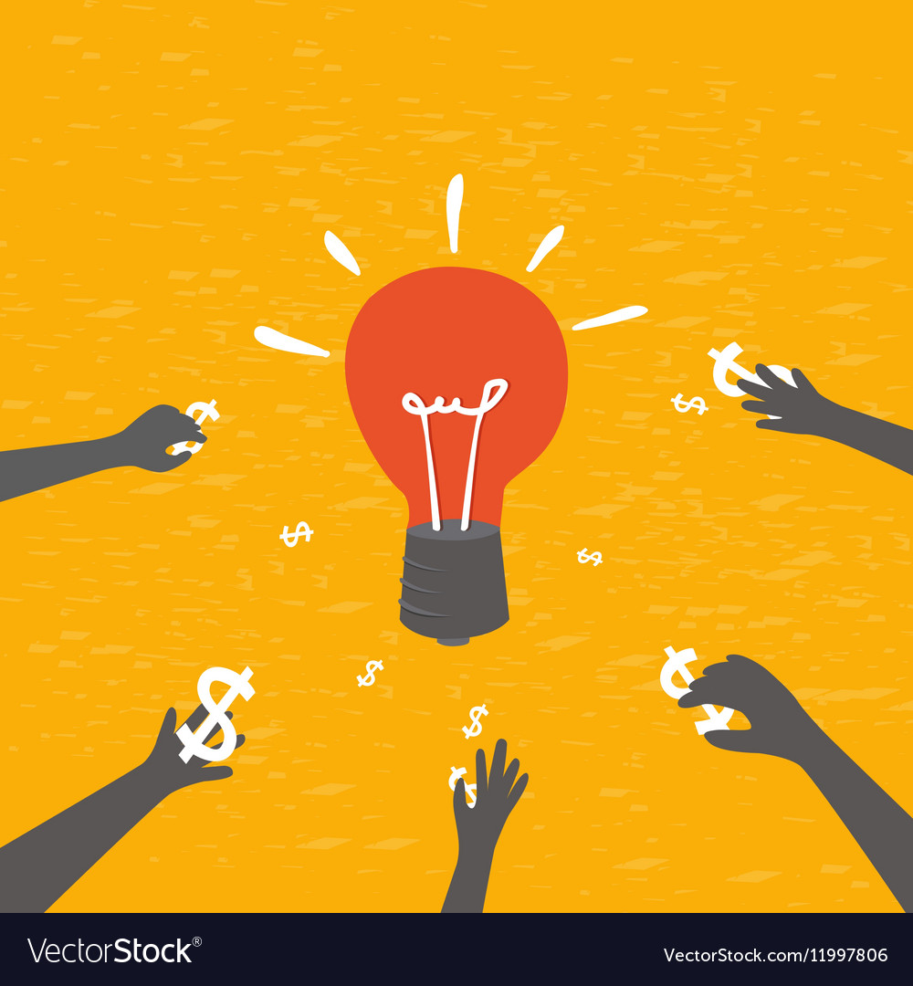Crowdfunding concept investing into ideas vector image