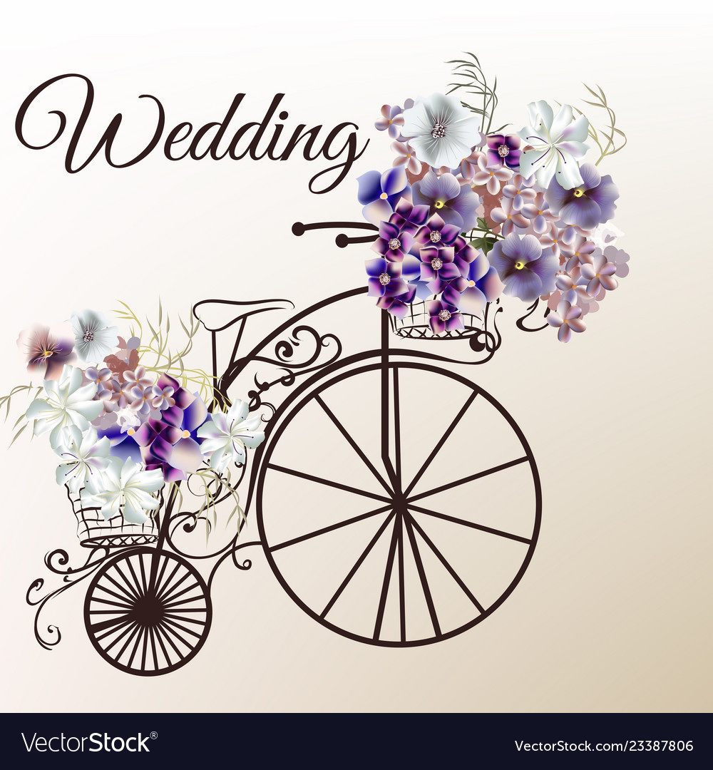 Cute invitation with fake bicycle and flowers