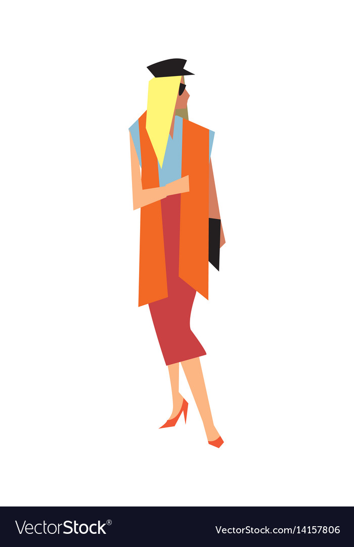 Elegant fashion girl in long skirt and blouse vector image