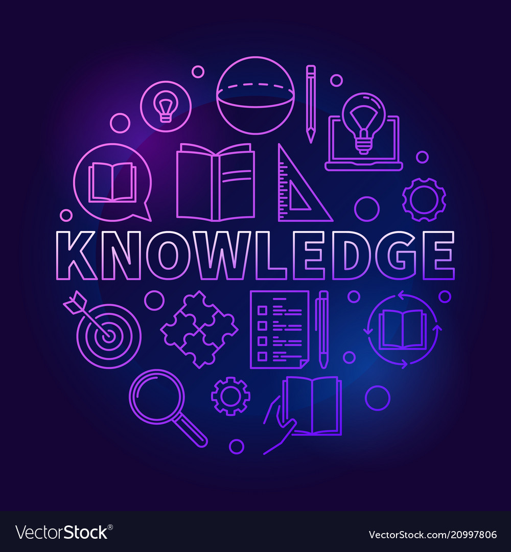 Knowledge round colored education outline