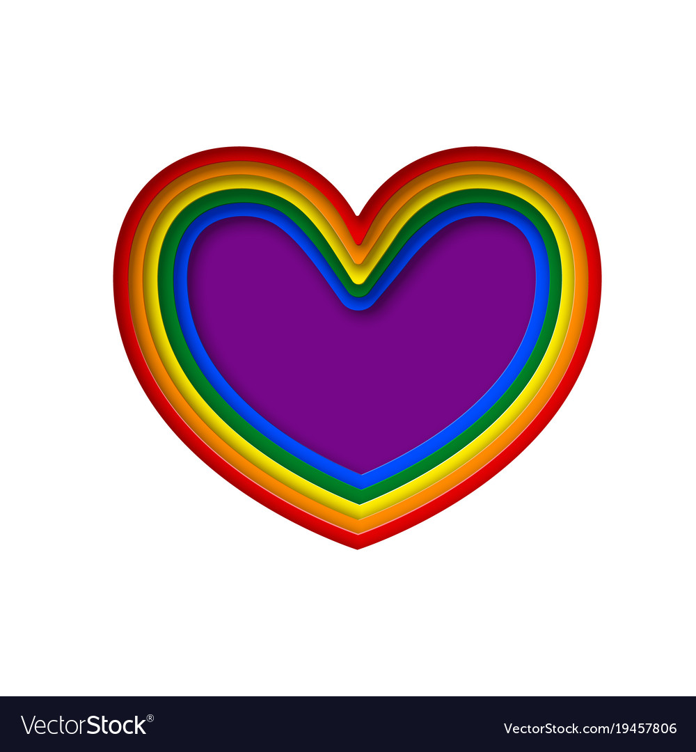 Lgbt rainbow pride flag in a shape of heart