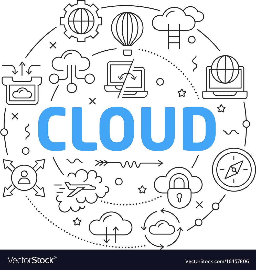 Line flat circle cloud vector image