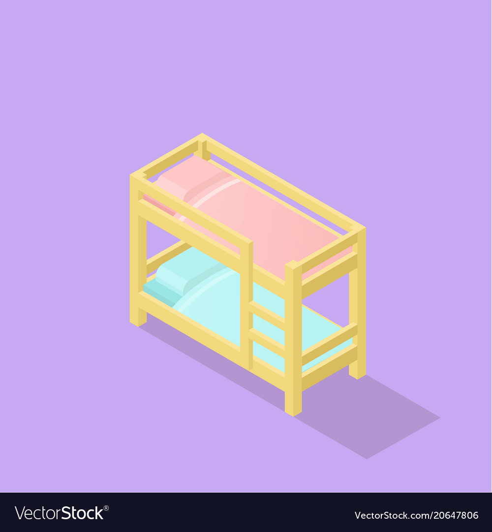 Low poly isometric kids bed
