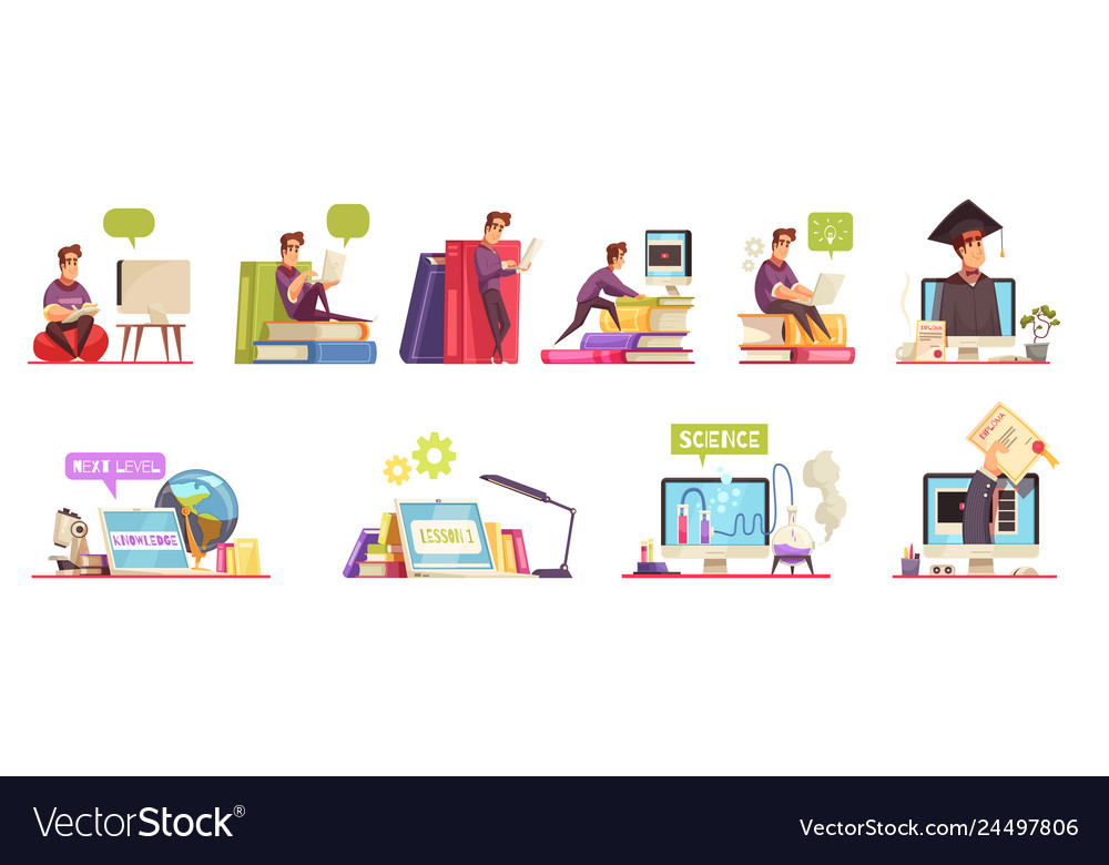 Online courses cartoon set