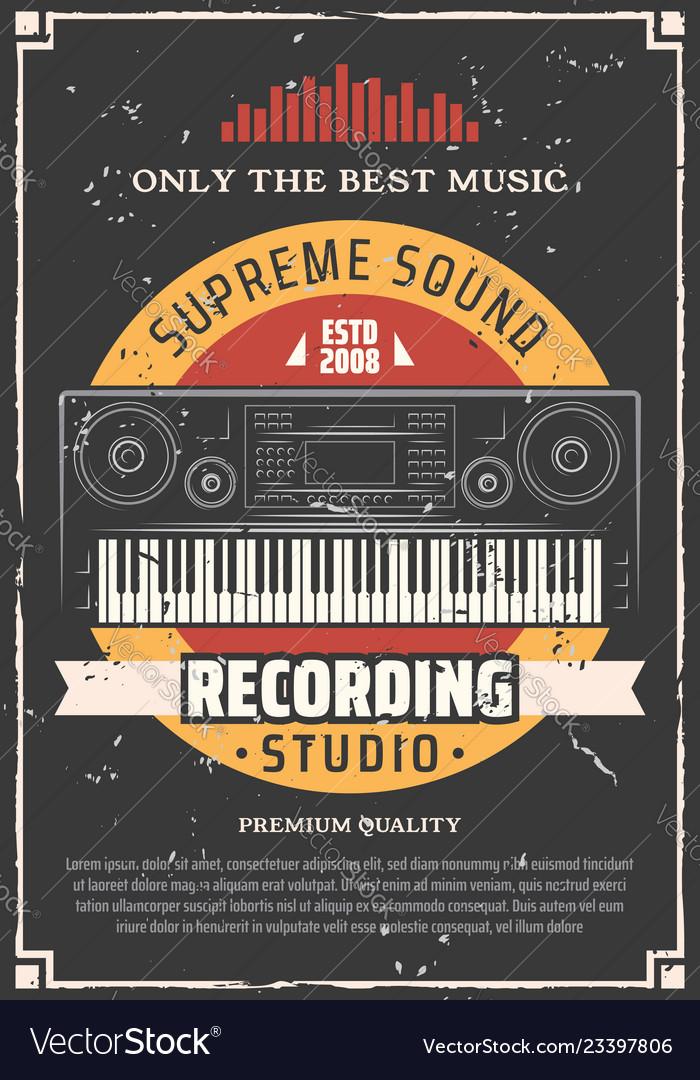 Piano keyboard music and sound recording studio