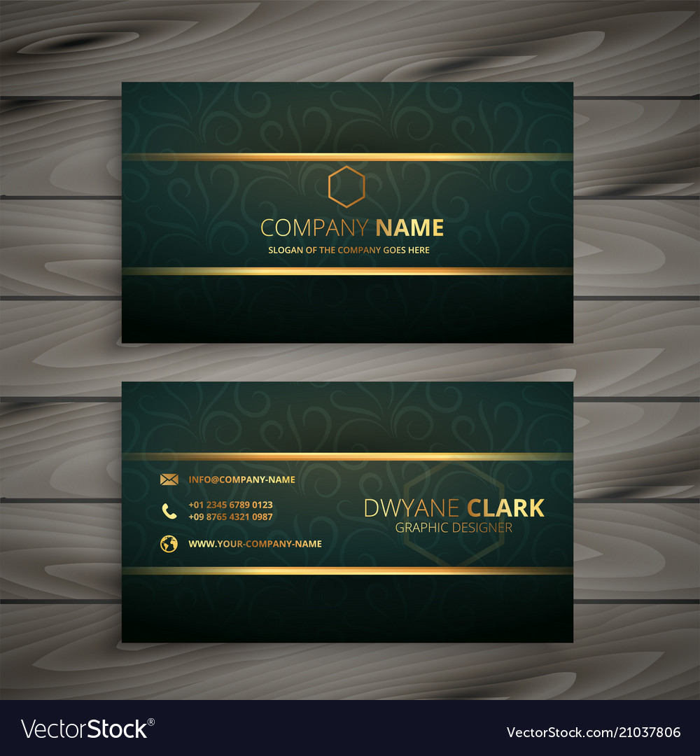 Premium golden green vintage style business card vector image colourmoves
