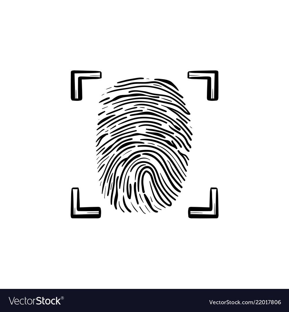 Scanned fingerprint in the frame hand drawn