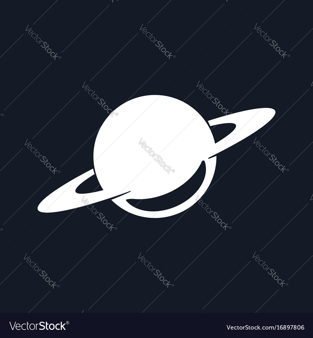 Silhouette planet saturn isolated on black