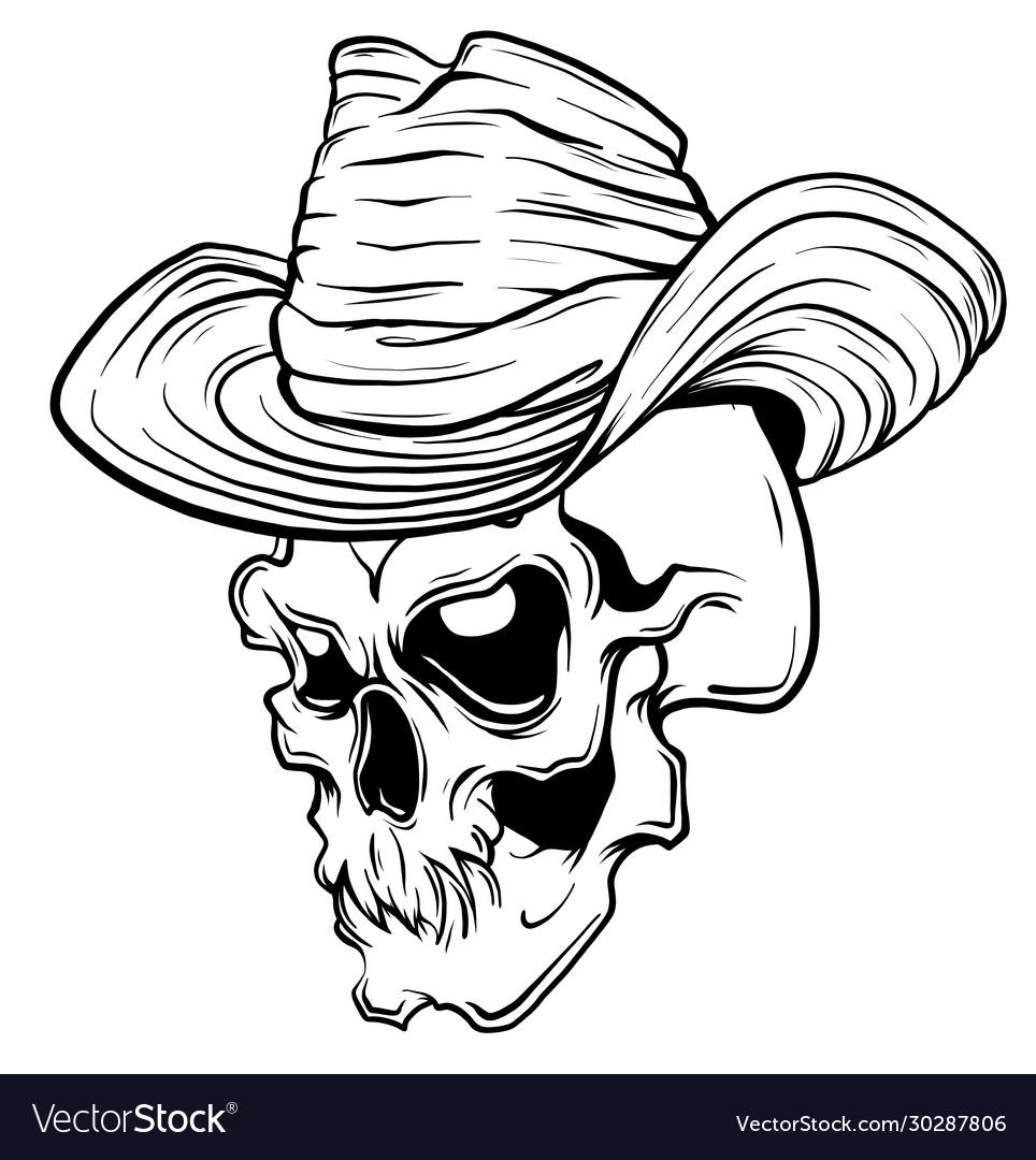 Skull in black cowboy s hat