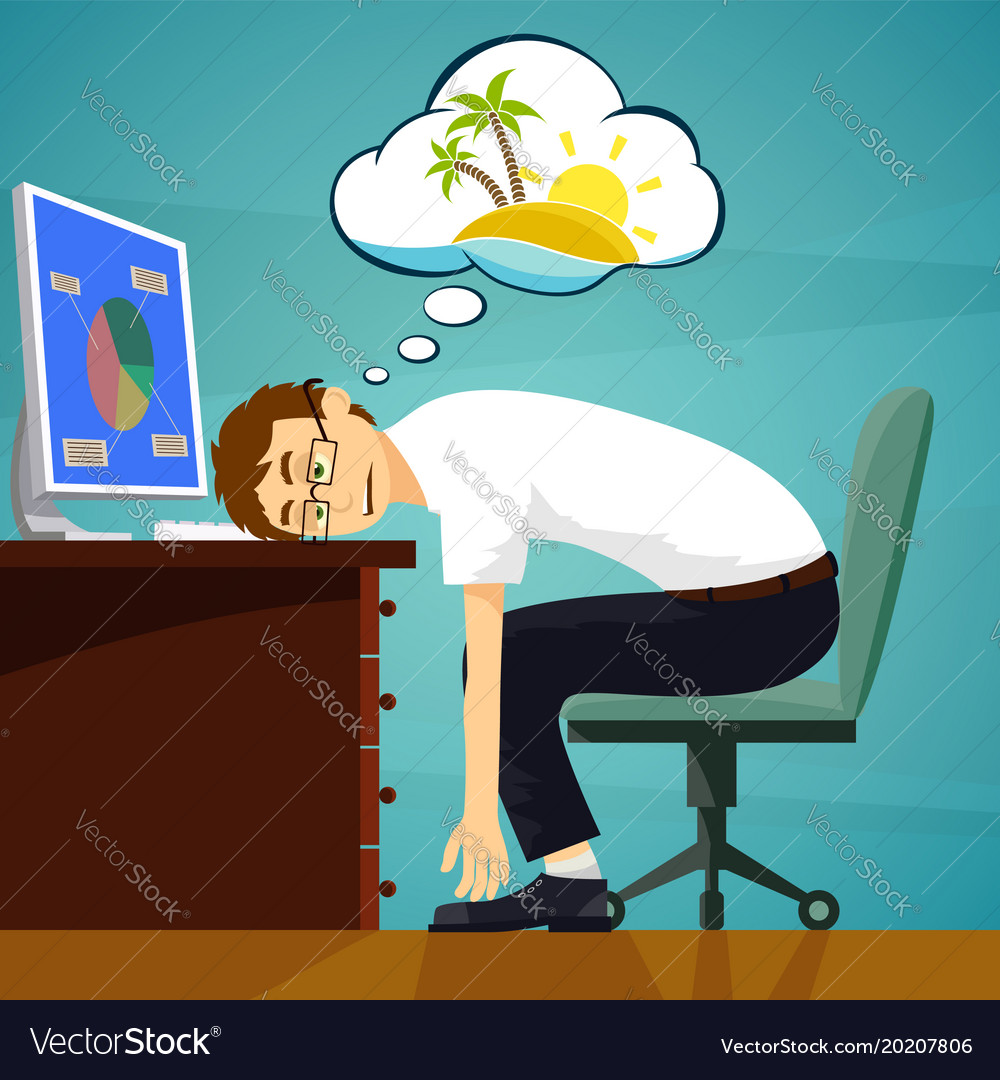Tired worker in the workplace dreaming about