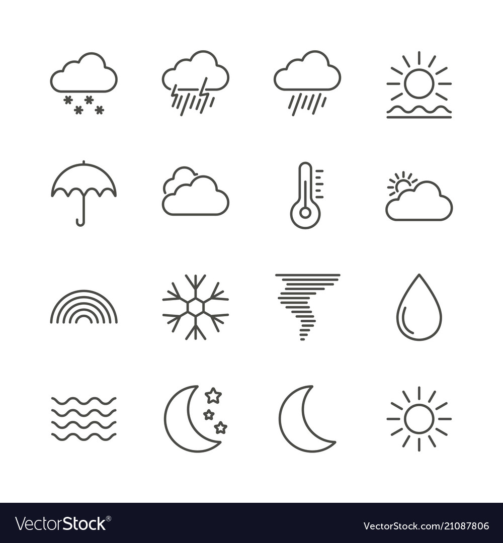 Weather set icon outline forecast collecti