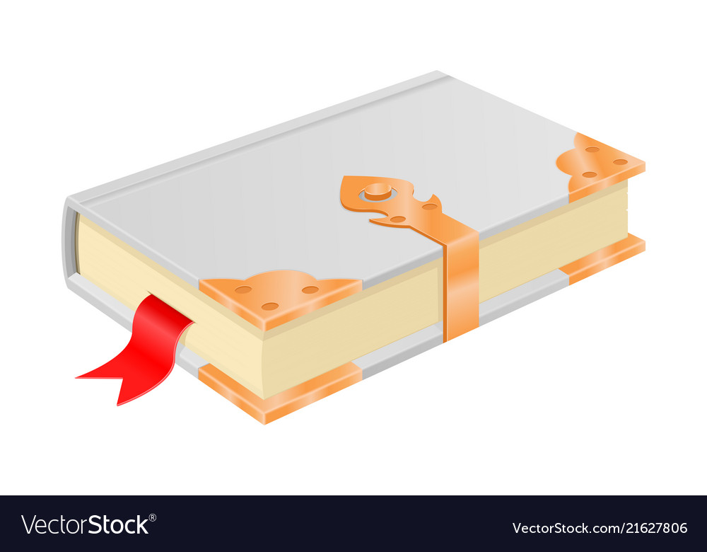 White book with golden corners and safe lock