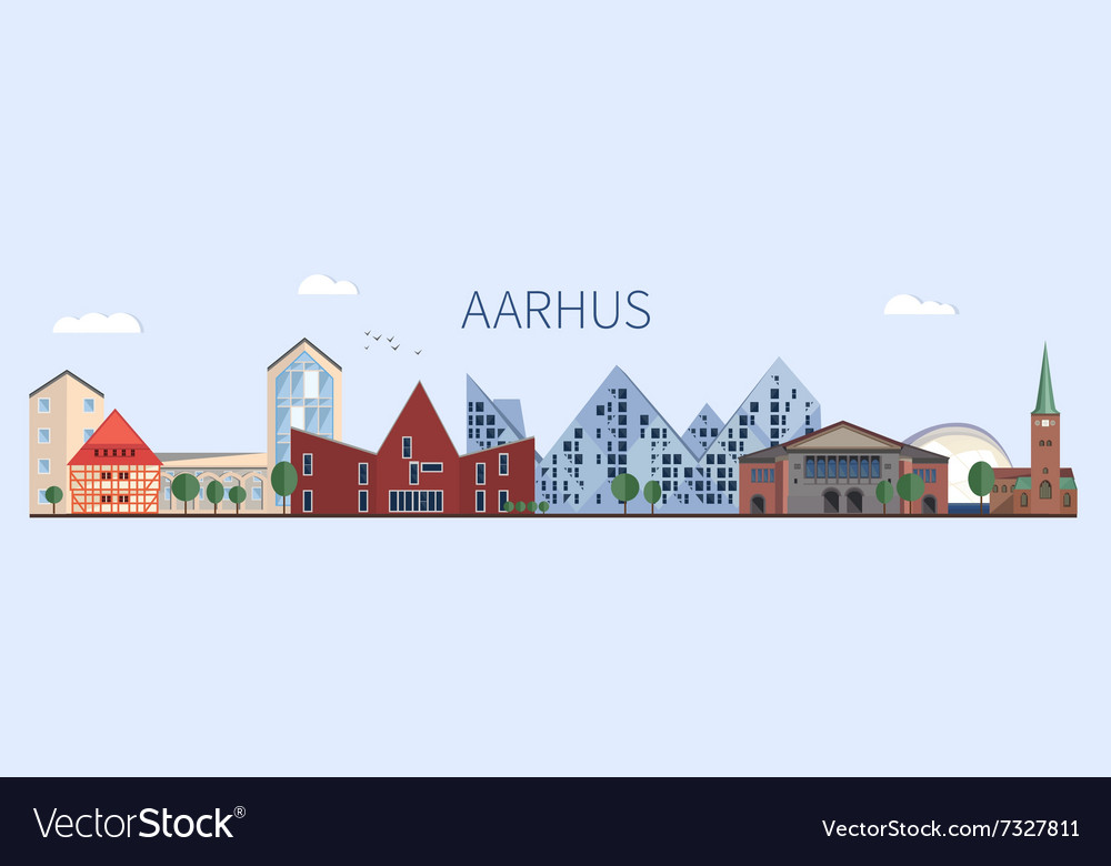 Aarhus landmarks and monuments in flat style