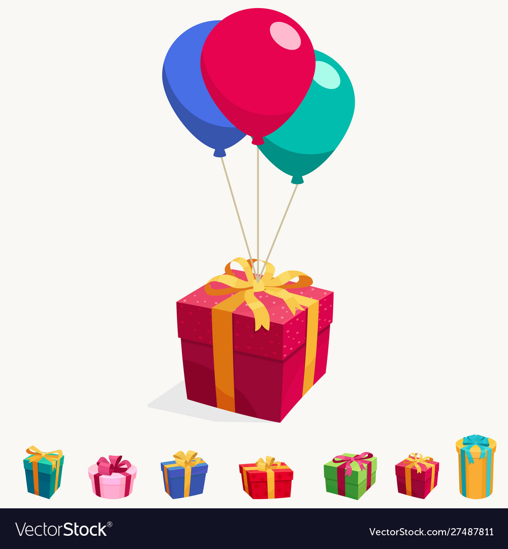 Balloon with gift box holiday surprise package