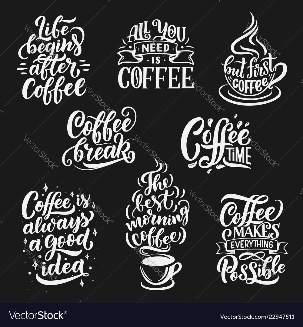 Coffee cup and beans lettering
