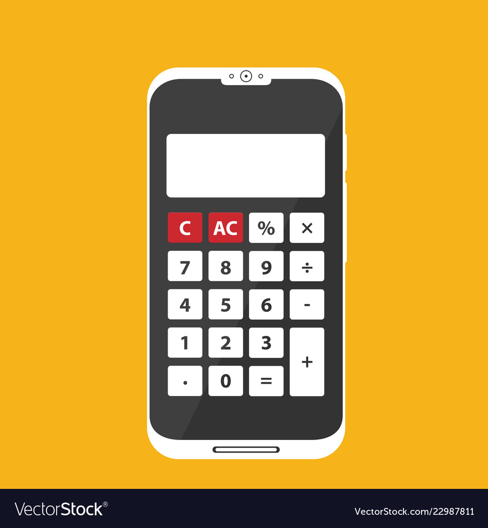 Flat calculator on phone icon isolated on color