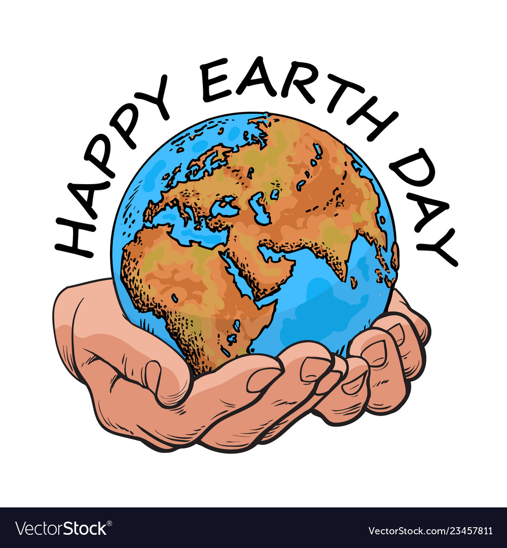 Happy earth day typography globe in hands two