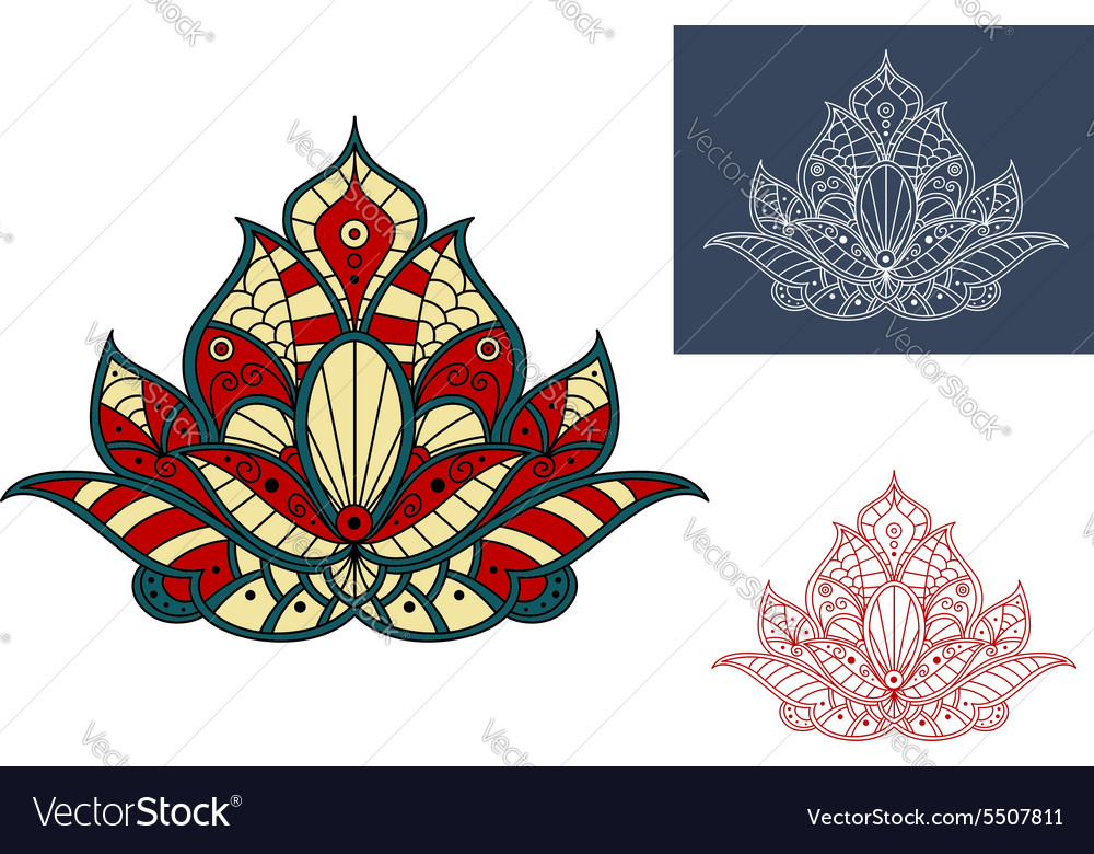 Indian flower with colorful paisley ornaments