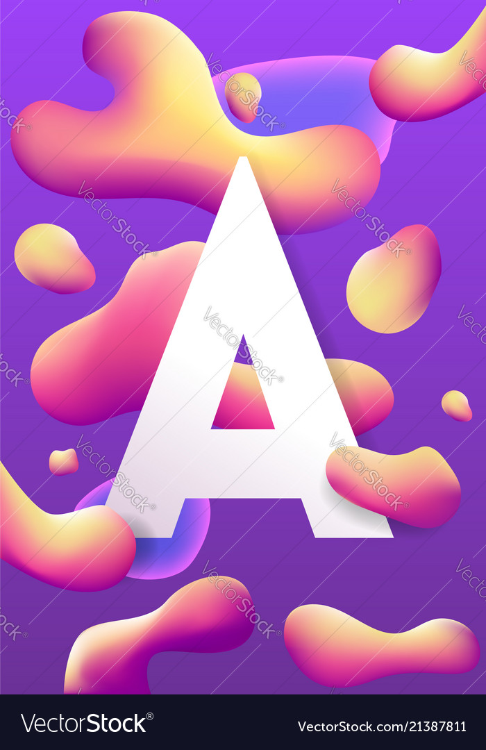 Letter a and liquid colorful shapes