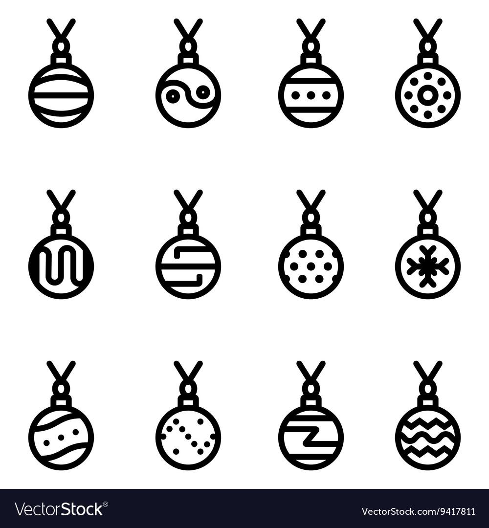 Line christmas ball icons set