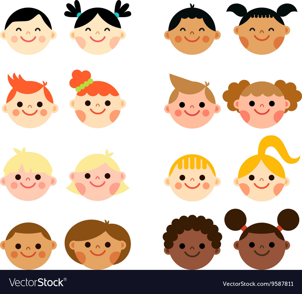 Multicultural national children heads flat style