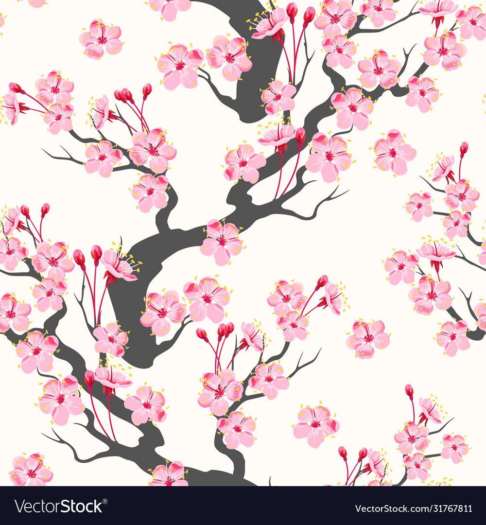 Seamless pattern with pink sakura branch