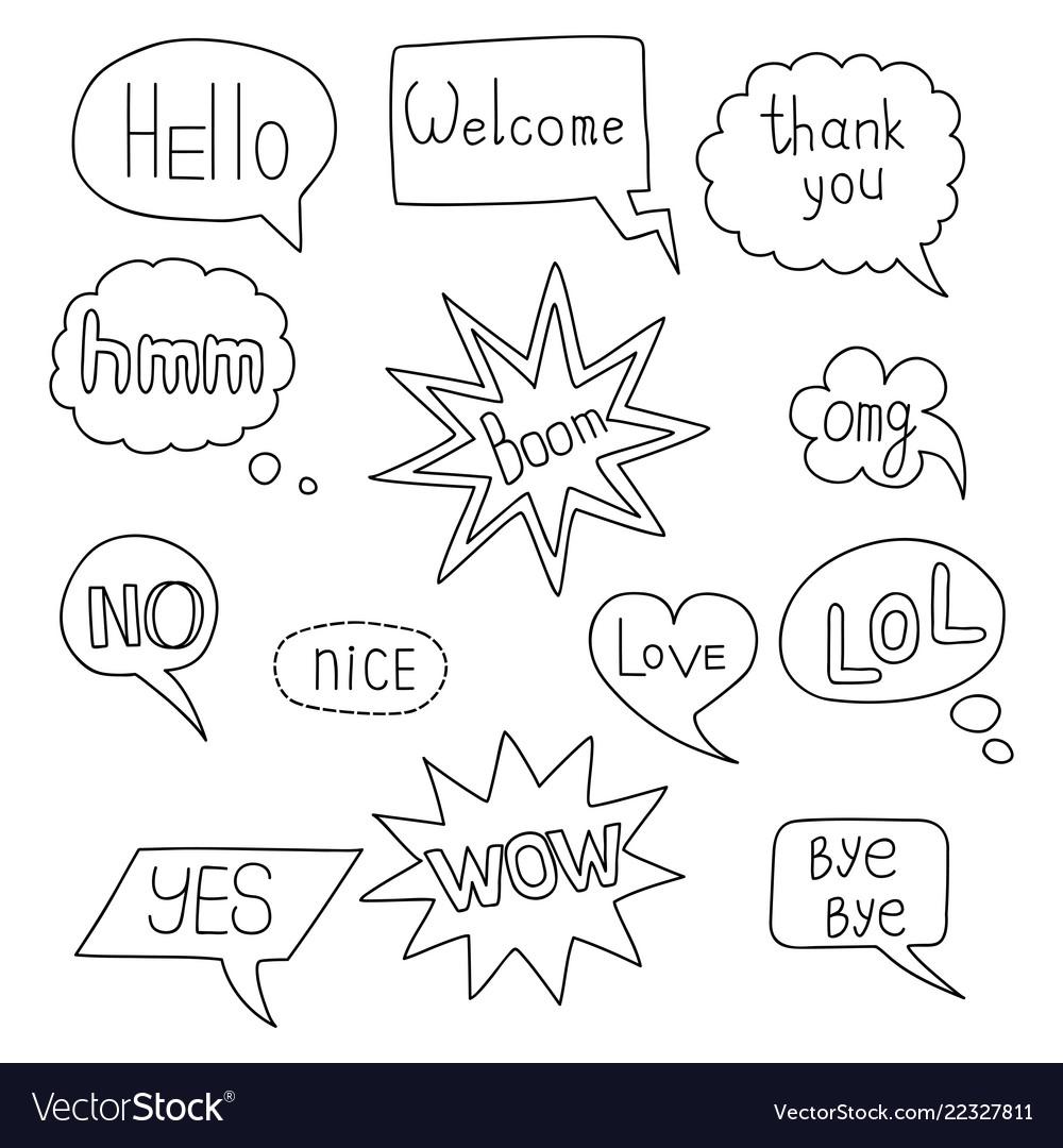 Speech bubble doodle set on white background