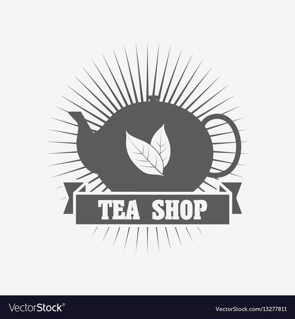 Tea shop logo or badge deasign template with tea