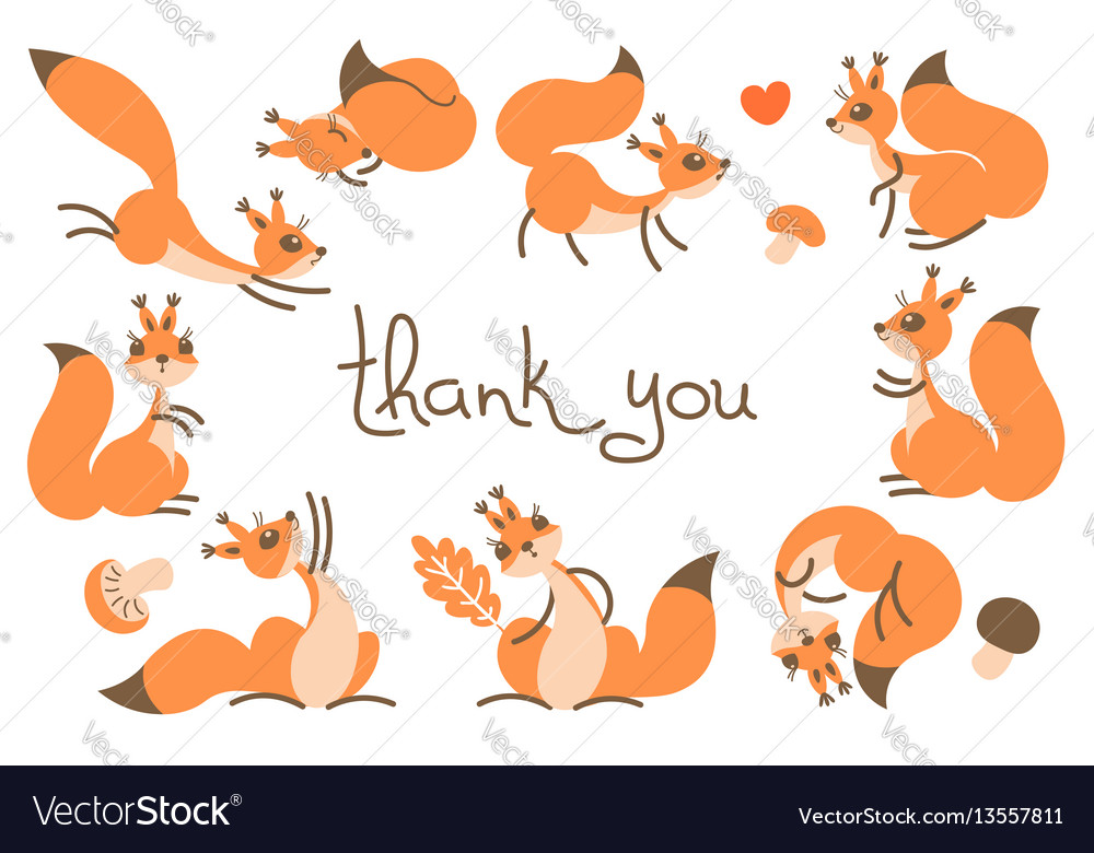 Thank You Card With Cute Squirrels Royalty Free Vector Image