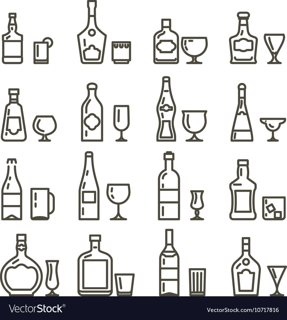 Alcohol beverages art icons or alcoholic drinks vector image
