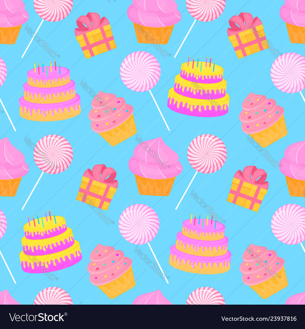 Cake candy gift seamless pattern of sweets for