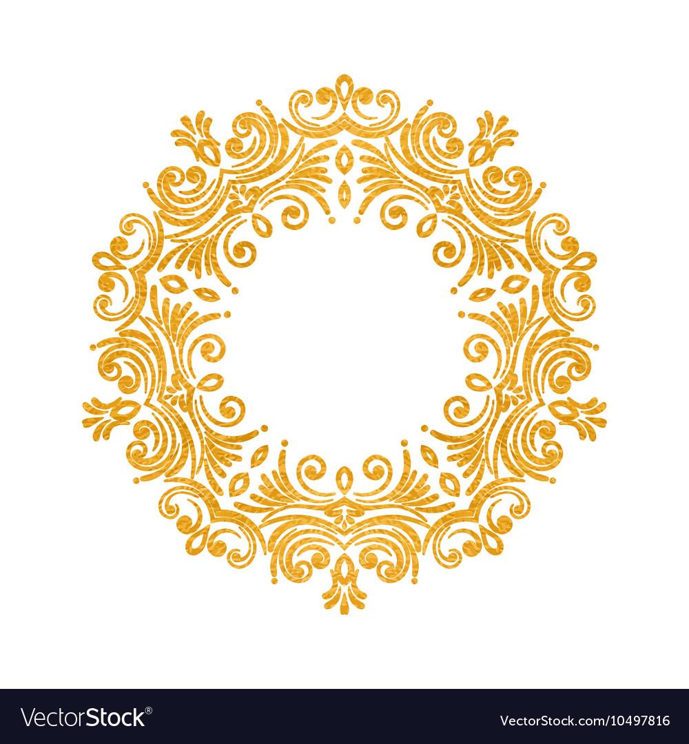 Elegant luxury vintage round gold floral frame Vector Image