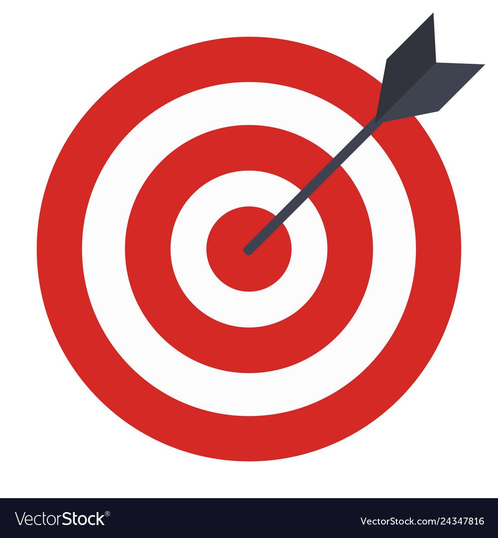 Flat icon design target with arrow goal achieve