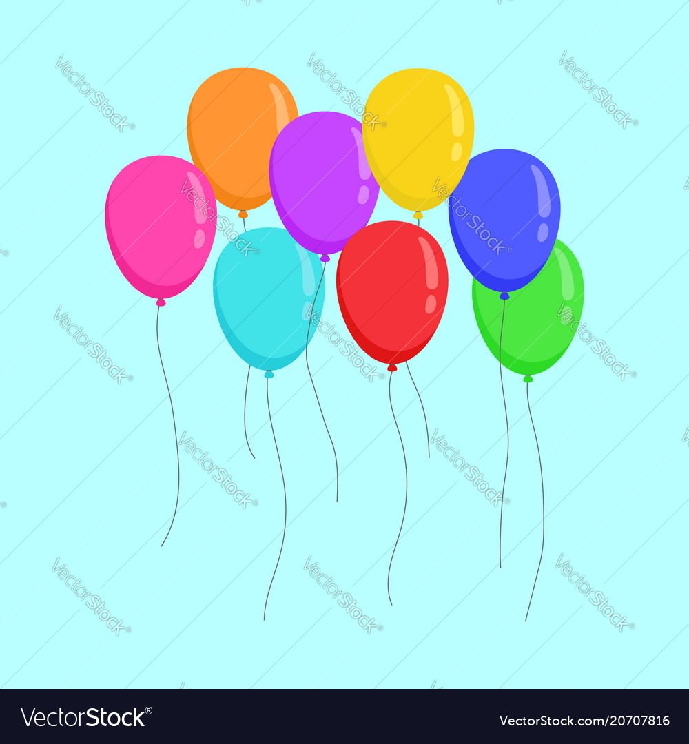 Flying color ballons copy space party design