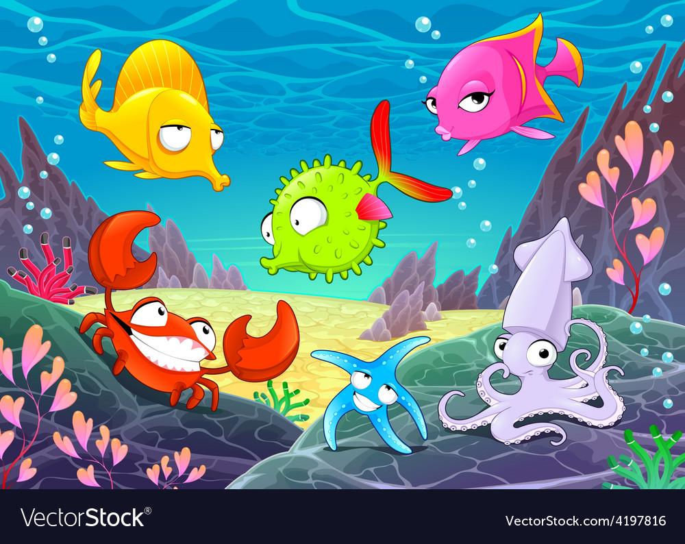 Funny happy animals under the sea